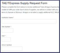 go to Supply Request form